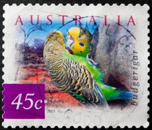 Australische 45cs Briefmarke mit Wellensittichen